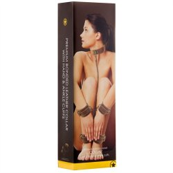Shots Ouch! Brown Bonded Leather Collar With Wrist & Leg Cuffs Sex Toy