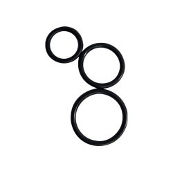 Curve Novelties Rooster Control Rings - Black - Set of 3 Sex Toy