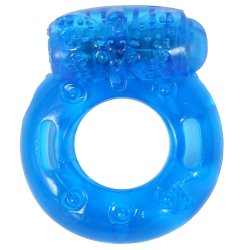 Stay Hard: Reusable Vibrating Cock Ring - Blue sex toy.