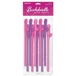 Bachelorette Party Favors Dicky Sipping Straws - Pink/Purple Sex Toy