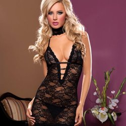 Midnight Affair Chemise Set - Black Sex Toy