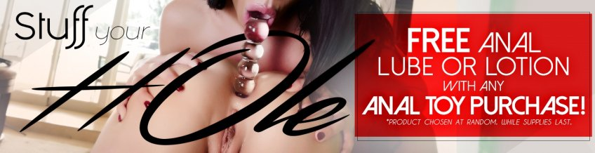 Shop anal toys and get a free bottle of anal lube.