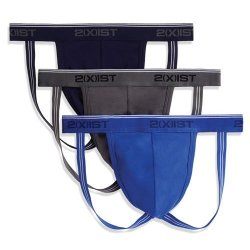 2XIST: Jock Strap 3 Pack - Size XL - Eclipse/Lead/Blue Sex Toy