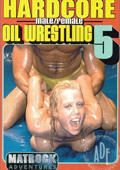 Male female hardcore oil wrestling