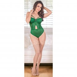 Exposed - Teddy with Removable Cups & Snap Crotch - Green - L/X Sex Toy