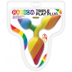 Rainbow Triple Play Butt Plug Sex Toy