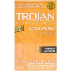 Trojan Ultra Ribbed Lubricant - 12 Pack Sex Toy