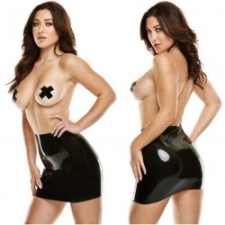 Latexwear: Premium Latex Mini Skirt with Pasties - Black - S/M Sex Toy