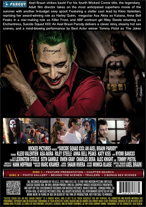 Back cover of Suicide Squad XXX: An Axel Braun Parody