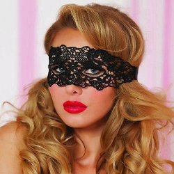 Lace Eye Mask with Satin Ribbon Ties - Black - O/S Sex Toy