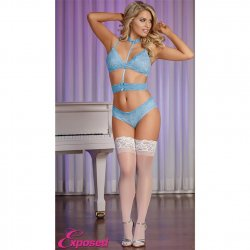 Exposed - Sky Collection - Bra, Panty & Choker-To-Waist Set - S/M Sex Toy