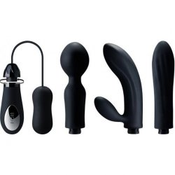 DORR Mystic Changeable Head Vibe Set - Black - Set of 4 Sex Toy