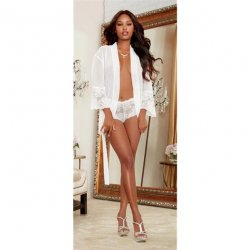 Chiffon & Stretch Lace Short Length Kimono Robe & Cheeky Panty - White - XL Sex Toy