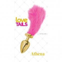 Love Tails: Athena Gold Plug with Short Pink Tail - Small Sex Toy