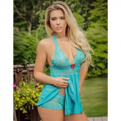 Exposed - Teal Bliss - Baby Doll & Short Set - L/XL Sex Toy
