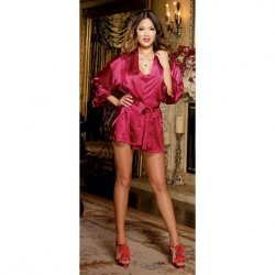 Charmeuse Short Length Kimono with Matching Chemise - Red - 1X/2X Sex Toy