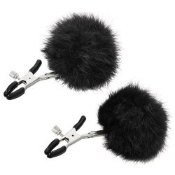 Sincerely Fur Nipple Clips - Black Sex Toy