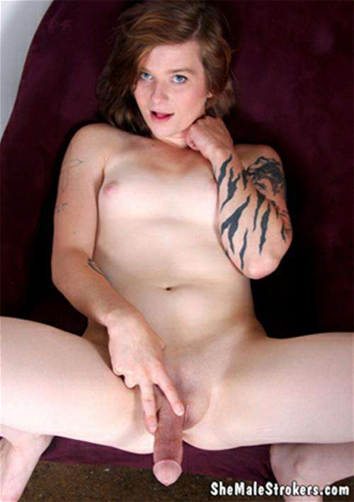 Sexy Tattooed Tranny In A Black Outfit Strokes Her Cock -3189