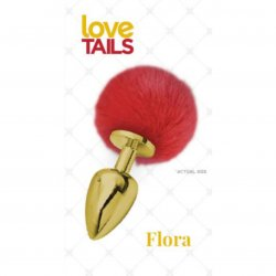 Love Tails: Flora Gold Plug with Red Pom Pom - Medium sex toy from Cousins Group Toys.
