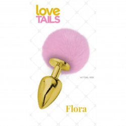 Love Tails: Flora Gold Plug with Pink Pom Pom - Medium sex toy from Cousins Group Toys.